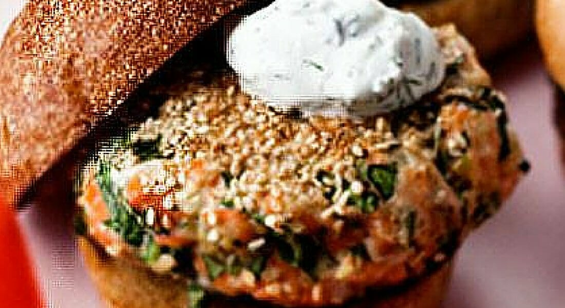Sesame Seed Crusted Salmon Burger with Yogurt Sauce