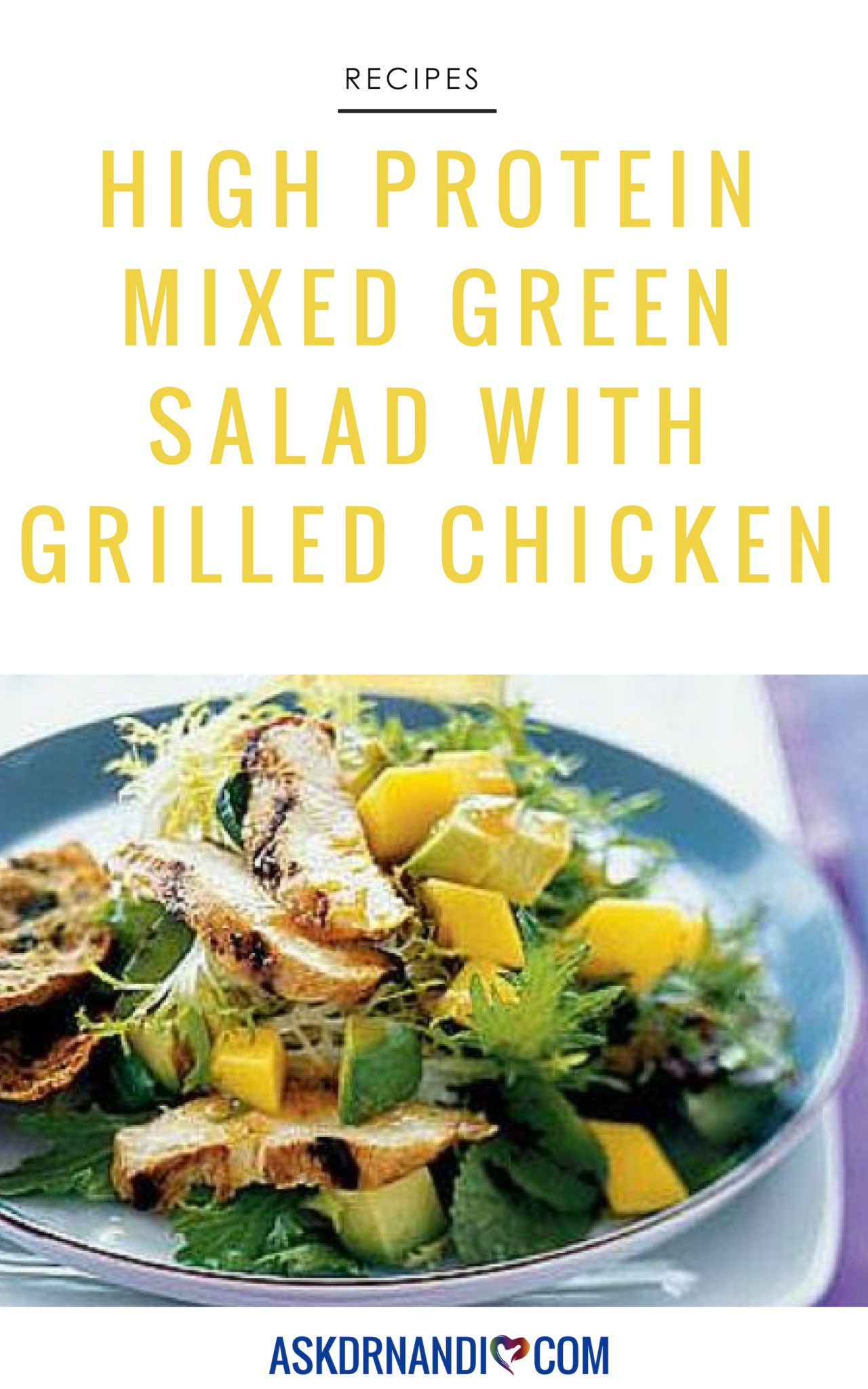 This quick and easy Mixed Green Salad with Grilled Chicken is packed with protein!