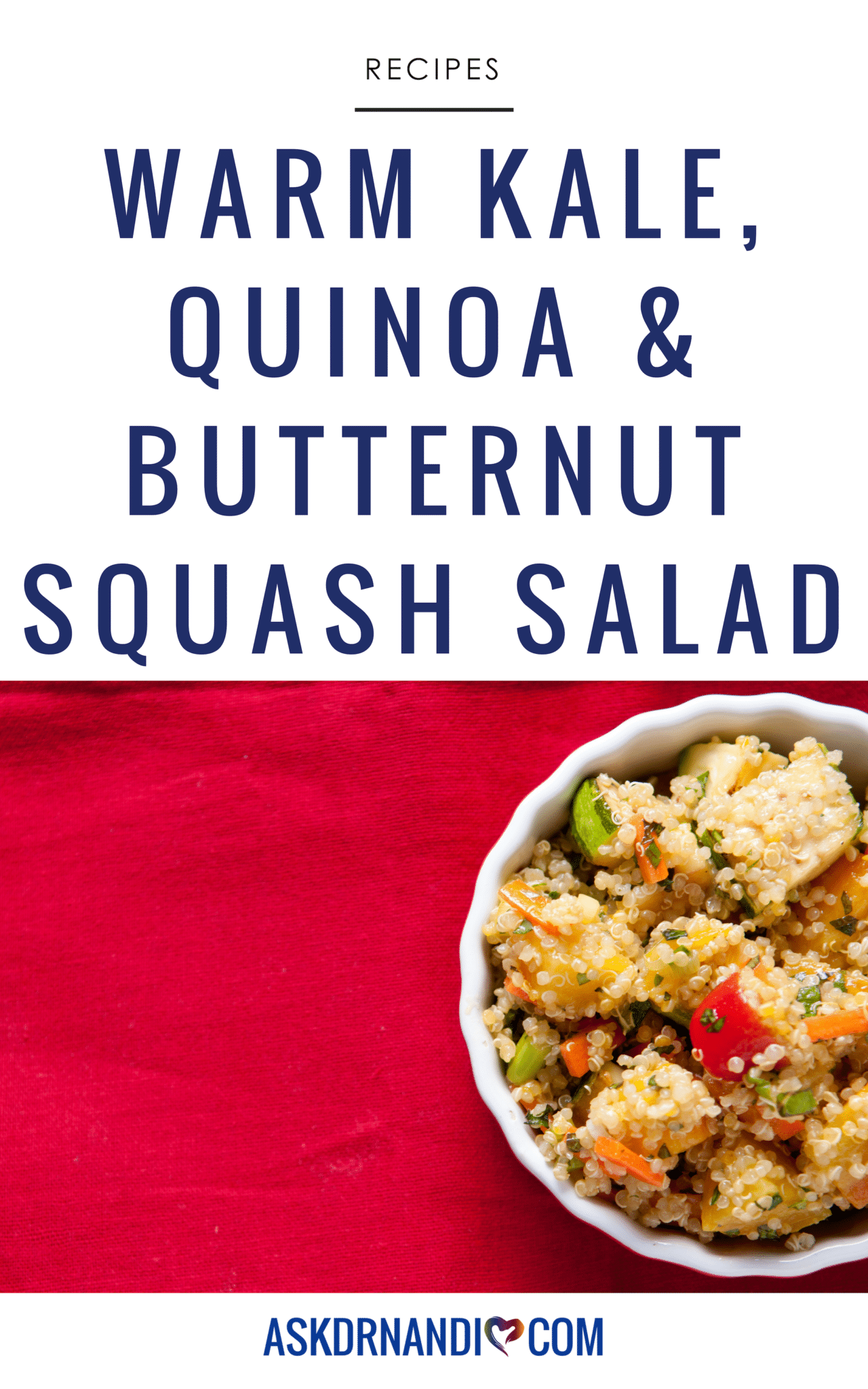 This Warm Kale, Quinoa & Butternut Squash Salad recipe is delcious, quick and easy to make!