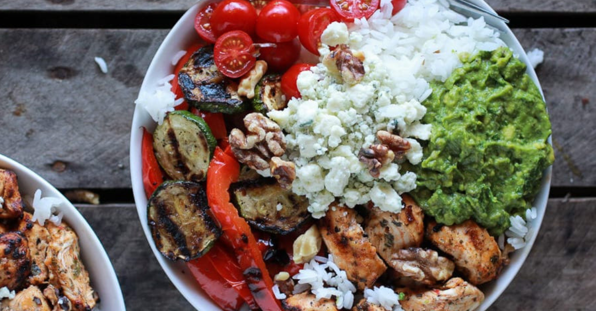 CHICKEN, VEGGIE, AVOCADO RICE BOWL