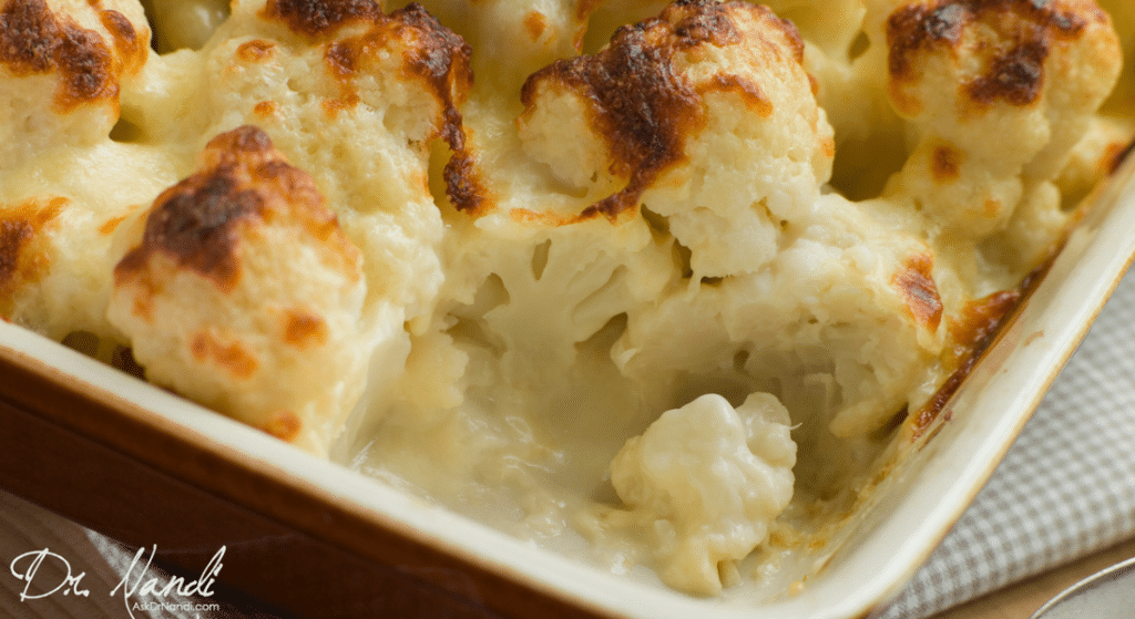 Healthy Baked Cauliflower with Cheese Casserole