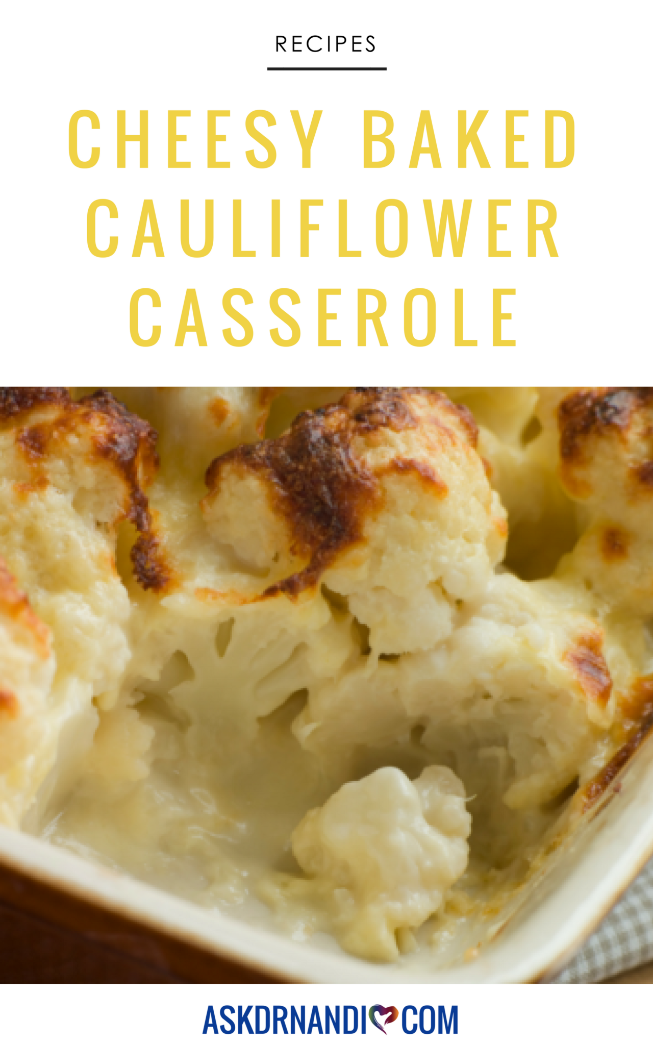 Baked Cauliflower with Cheese Casserole